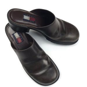 TOMMY HILFIGER Vintage 90's Leather Heeled Mules